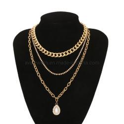 모조 다이아몬드 하락 펜던트를 가진 금에 의하여 도금되는 형식 보석 다중 층 숨막히게 하는 것 열등한 작풍 금속 목걸이