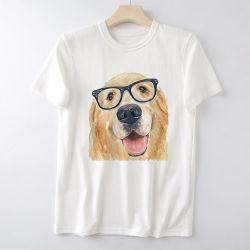 قميص مخصص قطنية بيضاء نمط طابعة رقمي قطن مسترجاع ذهبي كلاب جرو [تي] قمصان