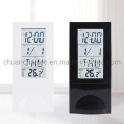 工場出荷時の透明 LCD アラームクロック温度計およびディスプレイ用カレンダー インテリアも印象的