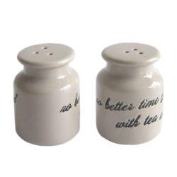 Insieme di ceramica del pepe del sale della mano della cucina bianca nera elegante della vernice