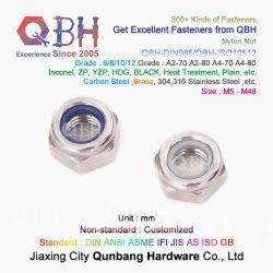 Qbh DIN985 Carbon/Acero Inoxidable hexagonal Hexagonal Tuerca de bloqueo de la máquina de material de construcción sujetadores de nylon Contratuercas Nylock de Hardware