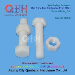 Qbh 6,8 M3-M30 de alta resistencia a la temperatura de la industria mecánica electrónica de la tuerca del perno de montaje de repuesto de PVDF tornillos fijación de plástico