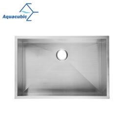 Aquacubic 29x18 дюймов БЗК сертифицированных Undermount ручной работы из нержавеющей стали единой чаши кухня блок радиатора процессора
