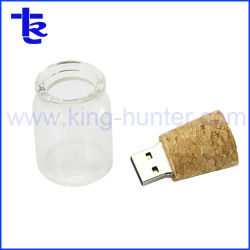 Frasco de vidro Flash USB Stick USB jarra de vidro de cortiça de madeira