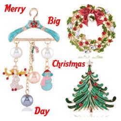 卸し売り昇進のギフトの方法の注文のブローチピンの宝石類のクリスマスのアクリル型サンタクロースの真珠の水晶ブローチ