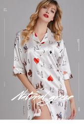 2020 New Summer Silk sottile sezione A MANICA MEDIA Nightdress Femminile Estate Colletto camicia Loose Home Service