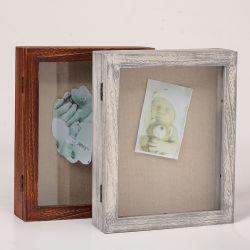 Marcos de madera insignia de solapa Vitrina sombra Bastidor de la caja de madera para bastidor de la colección y coleccionables