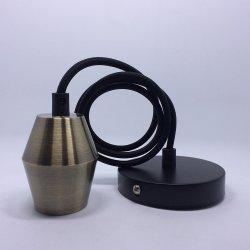 E26 pendentif en métal de la lampe en laiton pendaison Kit de cordon d'éclairage avec auvent noir