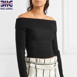 Les femmes noires du haut côtelée hors de l'épaule pure laine mérinos Pull Pull-over tricotés rognée pour dames
