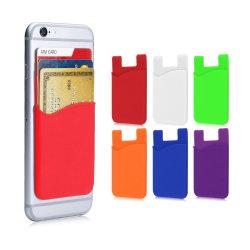 Logotipo personalizado de alta calidad 3m adhesivo flexible adhesivo Smart Wallet Multi-Color plegable Funda de silicona caucho de silicona de Titular de Tarjeta de crédito bolsillos Celular