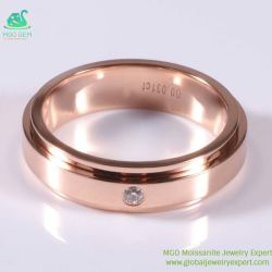 Joyas joyas de MGO Oferta Oro Rosa solo 3mm Def sintético Color Moissanite Diamond Band Anillo a precio de fábrica