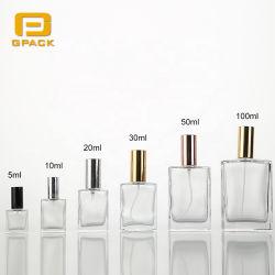 5ml 10ml 20ml 30ml 50ml Fles die van het Glas van de Fles van het Parfum van het Glas van de Rechthoek van 100ml de Vierkante Kleine Mini het Stempelen van de Fles de Pomp Afgedrukte Hete Flessen Zonder lucht van het Glas verpakken