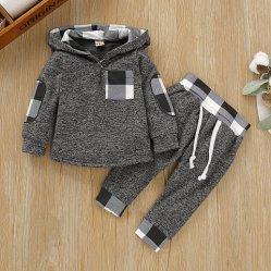 Baby Boy inverno quente suéter encapuzados com Pants Infant Pulôver Sweatsuit Fashion Outfit definir a ESG16511