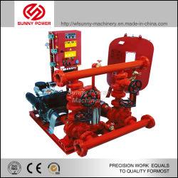 E o motor diesel da bomba de incêndio com a Bomba Jockey/tanque de pressão