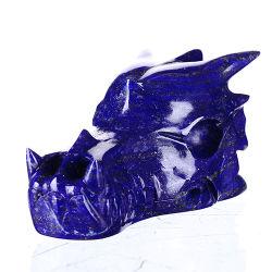 Lapis Lazuli Natural Dragón tallada cráneo tallado #6S63, rara gema