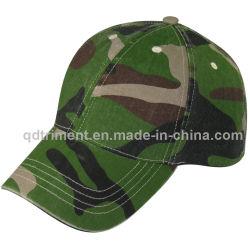 Lavé camo vert coton sergé Casquette de baseball de sport (TMB080)