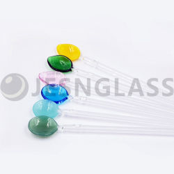 Il cucchiaio riutilizzabile della paglia di vetro bevente di alta qualità, la cannuccia di vetro, i rifornimenti della cucina, gli articoli per la tavola di vetro, giocattoli dei bambini, scherza il regalo, il regalo di promozione, decorazione domestica