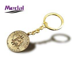 Hotsale precio de fábrica de aleación de zinc 2D 3D BRONCE bronce Bitcoin Soft enamel llavero