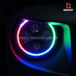Des Zoll-LED Farbe Automobillicht-APP-Esteuerte des Nachrüsten-7inch der Scheinwerfer-LED, die Musik-Synchronisierungs-Sekundärmarkt-nicht für den Straßenverkehr Lichter schneidet