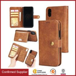 Téléphone à rabat en cuir de luxe portefeuille Couvercle avec étui rigide amovible