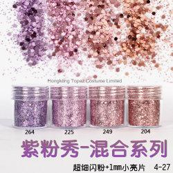 1 bocal / Case 10 ml d'Ongles rose 3D violet léger mélanger la poudre de Paillettes Paillettes d'ongles nail art Poudre pour gel 4-27 polonais (NR-45)