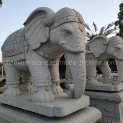 Granito Blanco Animal estatua la estatua de elefantes para la decoración de jardín