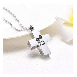 火葬はステンレス鋼の十字記念ペット灰の壷のペンダントのネックレスに灰を振りかける