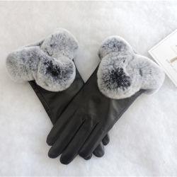 Мода овцы кожаные перчатки с кролик мех