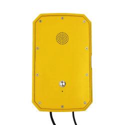 黄色いカラー強いハウジングの非常電話1ボタンのハンズフリーの電話