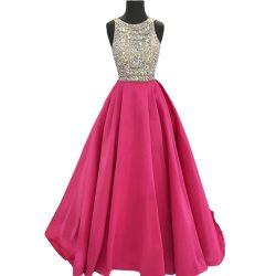 Jóias frisado de noite vestido roxo sem mangas Vestido de festa de casamento Real E13231