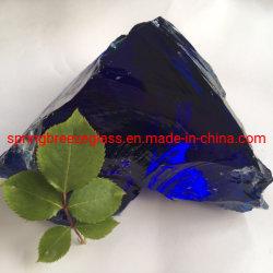 Dunkelblaue Kobalt-Blau-Glasfelsen für Hauptdekoration und Skulptur