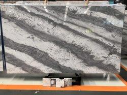 핫 세일 그리스 판타지 그래나이트/쿼트진/쿼츠 슬랩 레프코온 스트라이프 세미 화이트 대리석 바닥 타일 부엌 욕실 세면대