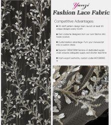 QC003 3D Laceheavy Sequins-wulstige Gewebe-Stickerei mit Abend-Kleid