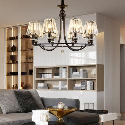 L'art deco di decorazione tradizionale ha usato i retro indicatori luminosi industriali del lampadario a bracci del nero del ferro saldato per i soffitti alti domestici