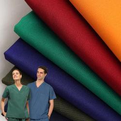 Agion poliéster Wicking Rayon Twill Spandex 99% de tramo de 4 vías de antimicrobianos de enfermería del Hospital Médico Scrubs uniformes uniformes de Tela Tela de traje quirúrgico Scrubs