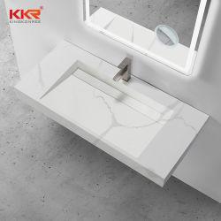 Pietra artificiale resina acrilica Corian superficie solida armadio muro Hang Tavolo da pranzo in marmo personalizzato rotondo bianco nero Vanity Hotel Lavandino per bagno