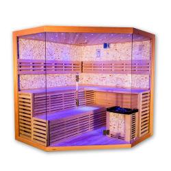 Großhandelshaupthandelsqualitäts-hölzerne grosse Größen-Luxuxfelsen-Salz-hölzerner Dampf-Sauna-Raum durch Stove für den 6 Leute-Hersteller
