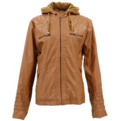 Senhoras Encapuçados Cavalo de moda de Couro acolchoado Coreano Wholesales Zíperes Casaco de couro personalizada