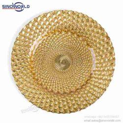 Оптовая торговля Посуда стеклянная Gold разорванные ужин пластины дешевые Декоративная пластина зарядного устройства для проведения свадеб