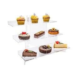 뷔페, 컵케이크, 스파이스, 준비된 음식을 위한 도매 투명 테이블 아크릴 스텝 라이저 디스플레이 선반