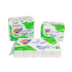 Venta caliente fábrica de papel higiénico Papel Higiénico Rollo Rollo de papel higiénico del rodillo de pulpa de madera suave tejido de cuarto de baño papel higiénico