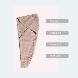 Tecido quadriculado flanela seca rápido Pac toalha cor vários toalha de cabelo em stock
