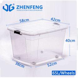 Eco-Friendly 최상 최고 튼튼한 높은 투명도 공간 바퀴 뚜껑을%s 가진 플라스틱 제품 PP 물자 저장 음식 콘테이너 선물 수송용 포장 상자는 도매한다