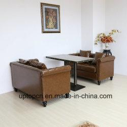 (SP-KS316) антикварной мебели Ресторан Ресторан диван из натуральной кожи и таблицы