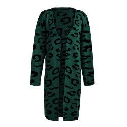 Knitted Apparel Leopard Cardigan 숙녀 느슨한 긴 소매 뜨개질을 하는 스웨터