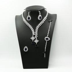 Design de luxo pedras coloridas conjunto de jóias brincos de Prata Anel bracelete e colar