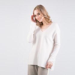 2019 새로운 기우는 여자의 형식 Eco-Friendly 오로라 100% 왕 캐시미어 천 스웨터 V 목 스웨터