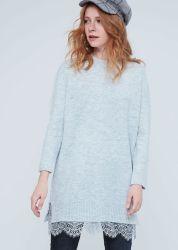 Plain Sweater Fashion Knitting Dress Met Lace Decoration