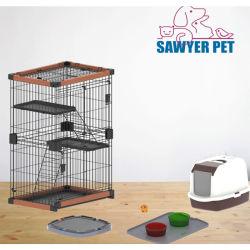 La Jaula de animales de compañía un buen valor de dinero de alta calidad de la jaula gatos mascota jaulas jaulas de perros de la caja de madera portátil portador de la caja de madera maciza de madera jaula para perros y gatos
