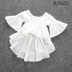 의복 아이 의복이 고정되는 아기 착용과 일치하는 세트 아이 백색 상단 데님 바지를 입어 아이들의 의류 소녀에 의하여 농담을 한다